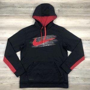 Nike Therma Fit Hoodie Black & Red Medium